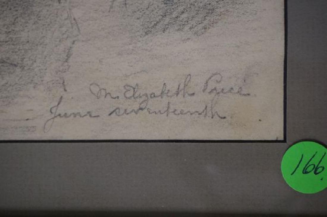 """FRAMED PENCIL SKETCH TITLED """"JUNE - 3"""