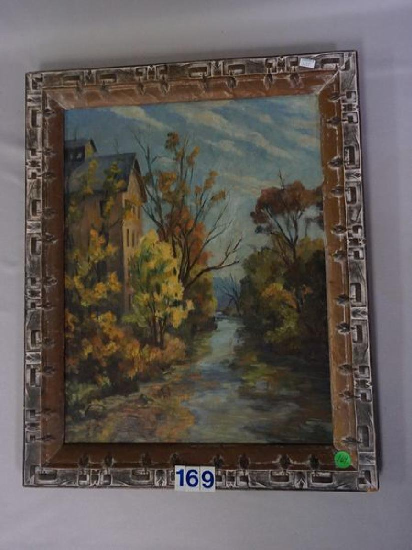OIL PAINTING ON MASONITE PANEL, STOVER MILL