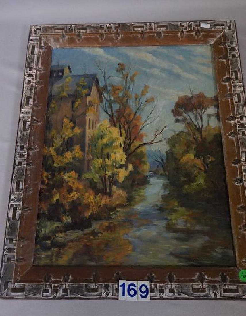 OIL PAINTING ON MASONITE PANEL, STOVER MILL - 2