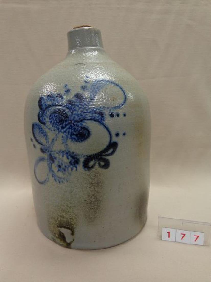 COBALT BLUE FLORAL DECORATED TWO GALLON
