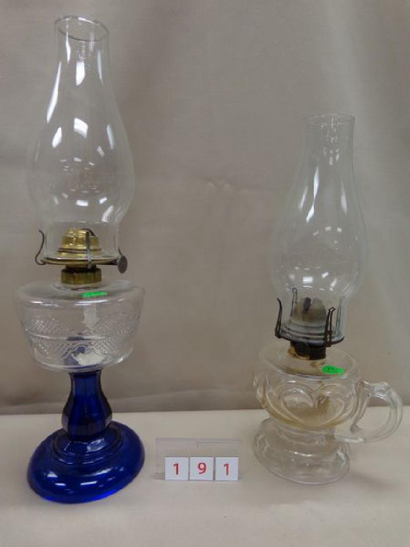 ANTIQUE COBALT BLUE & PRESSED GLASS OIL LAMP