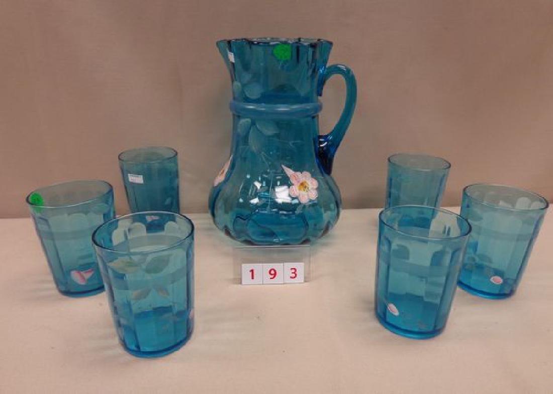 (7 PIECE)  ART GLASS WATER SET, CIRCA 1900,