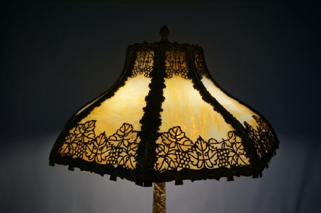 'ESTATE' SLAG GLASS TABLE LAMP, - 2
