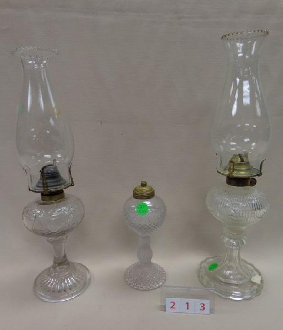 (3) ANTIQUE PRESSED GLASS OIL LAMPS: