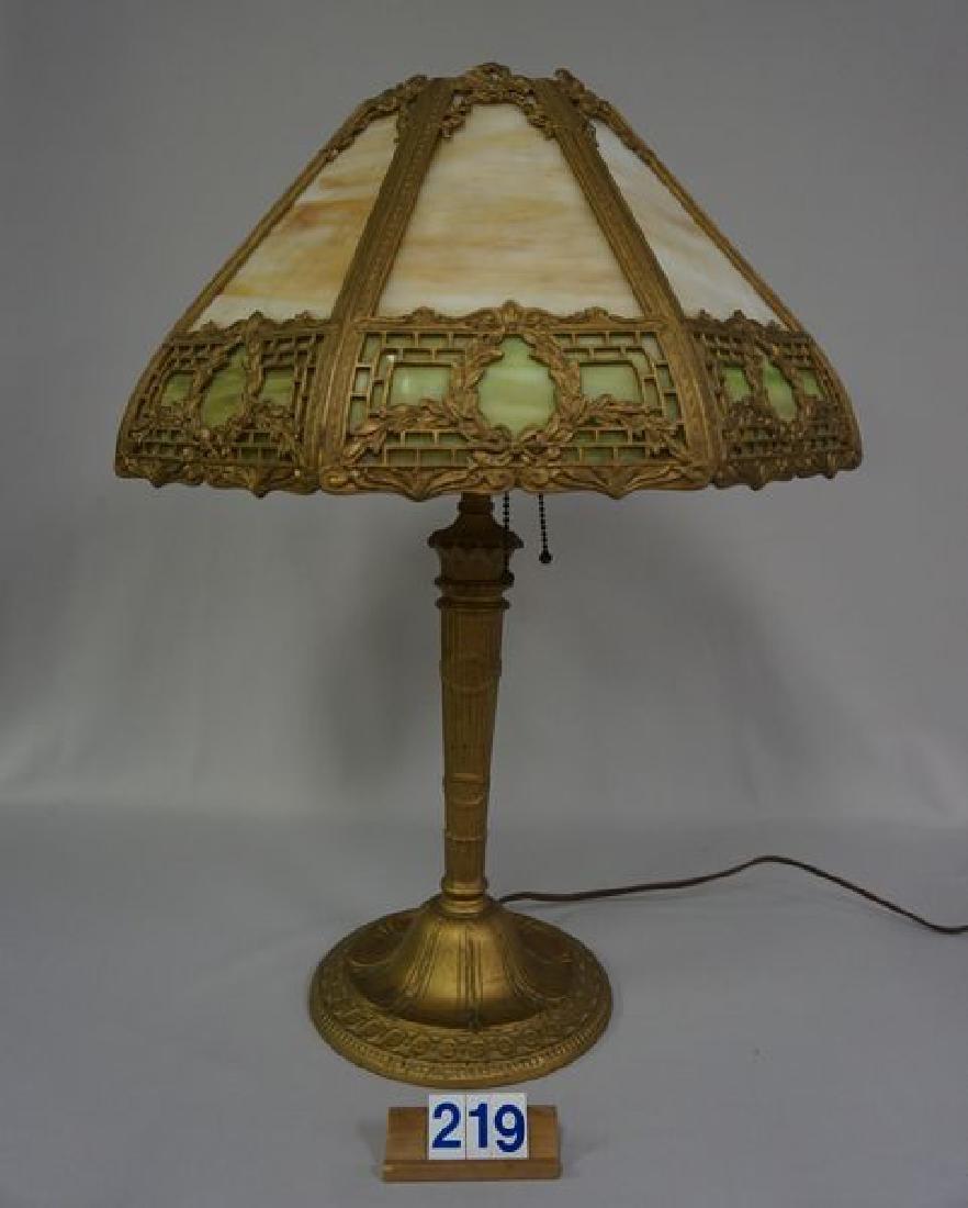 'ESTATE' SLAG GLASS TABLE LAMP - 4