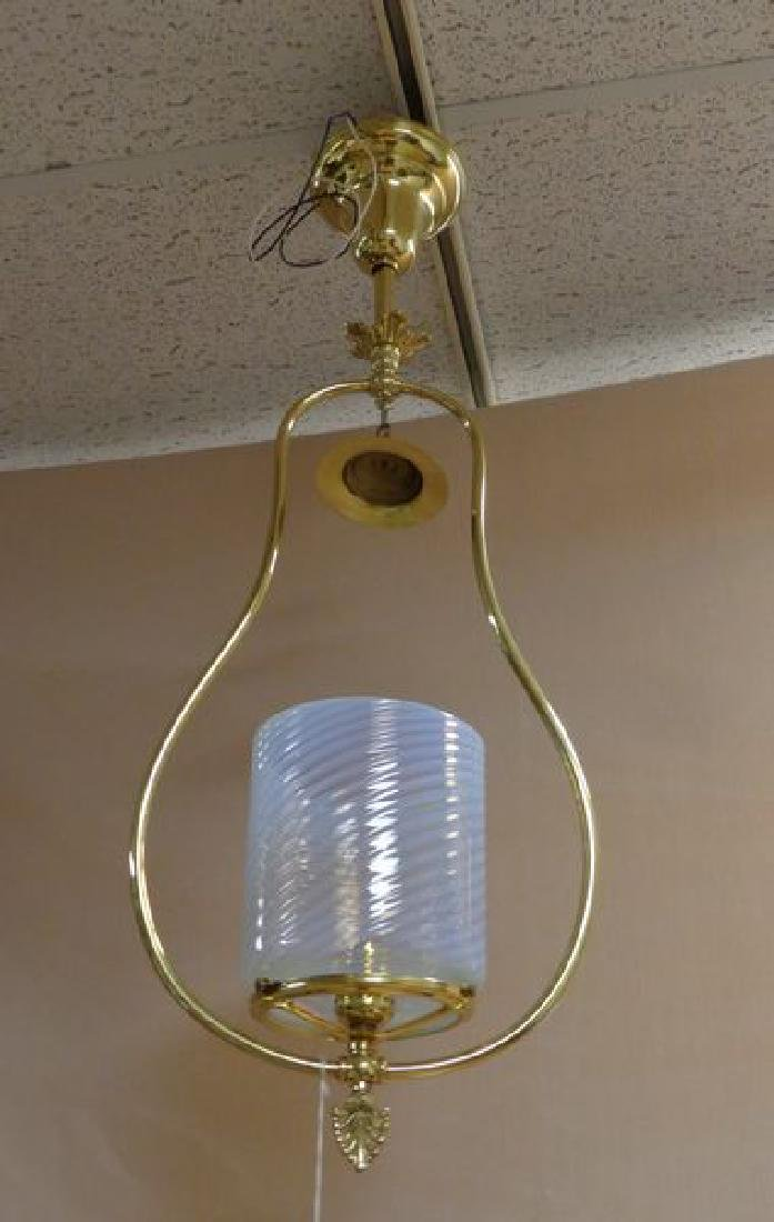 ANTIQUE BRASS & OPALESCENT SWIRL HALL LIGHT