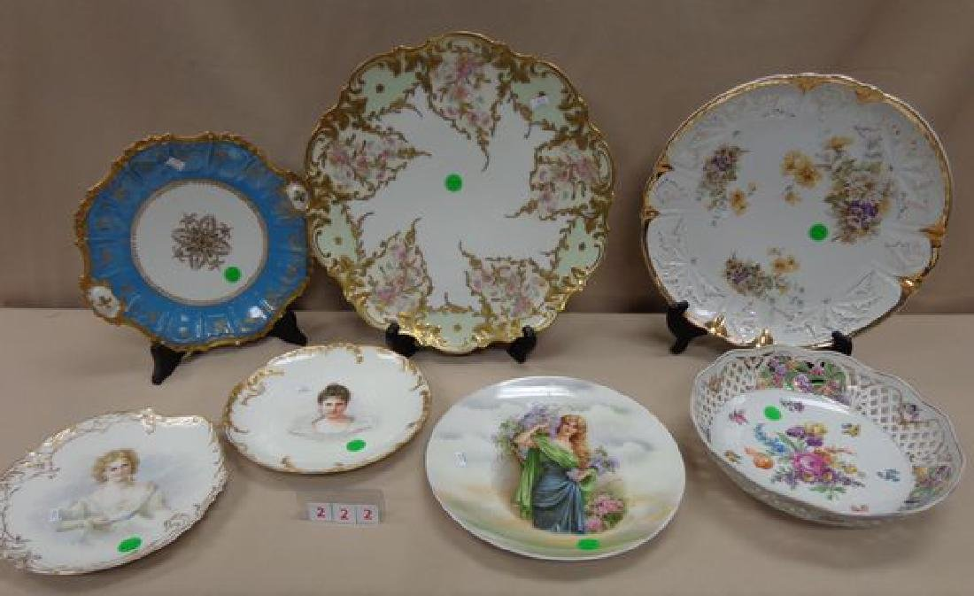 (7 PIECE) HAND PAINTED CHINA LOT: