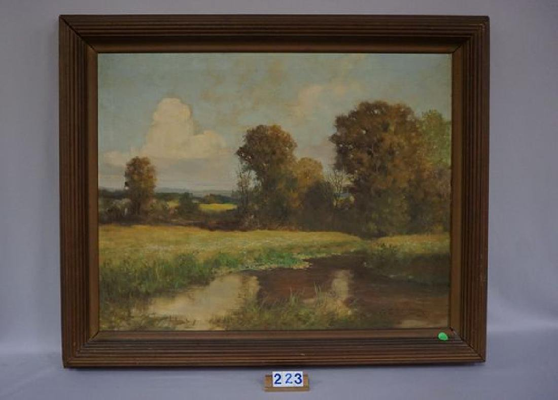 FRAMED OIL ON CANVAS, SMALL STREAM SCENE