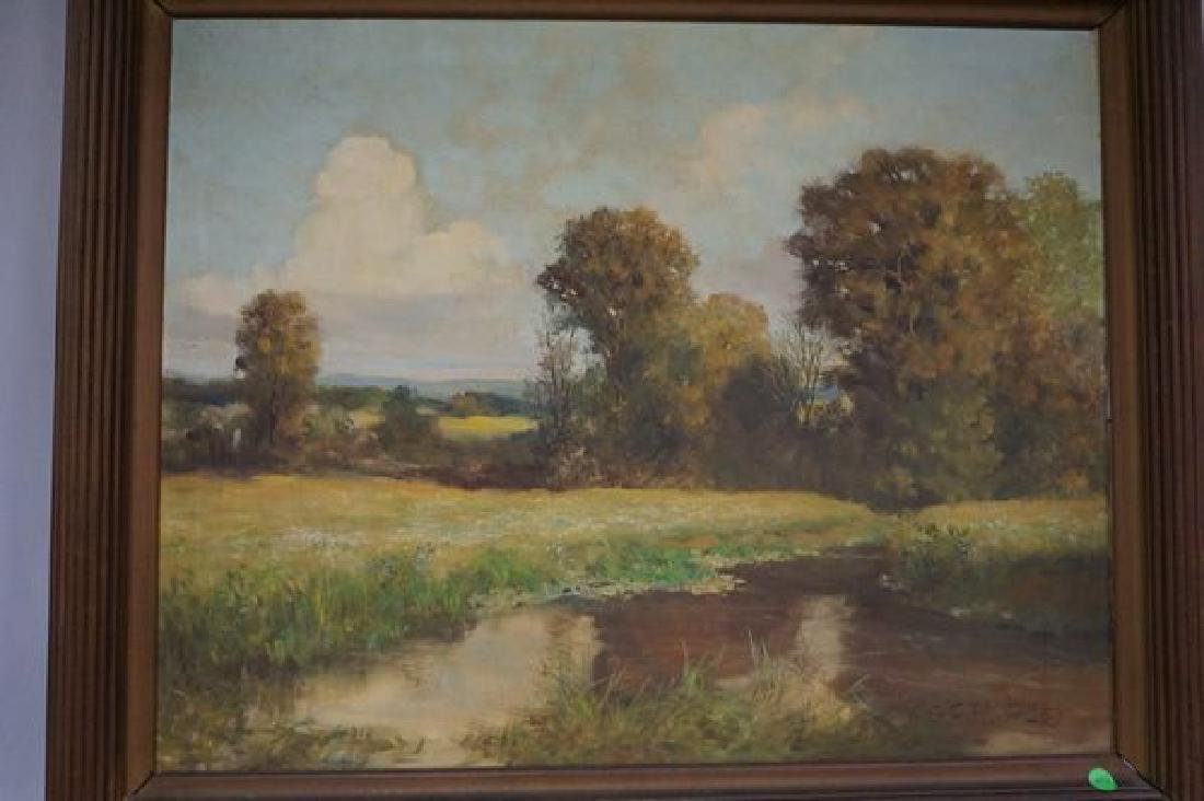 FRAMED OIL ON CANVAS, SMALL STREAM SCENE - 2