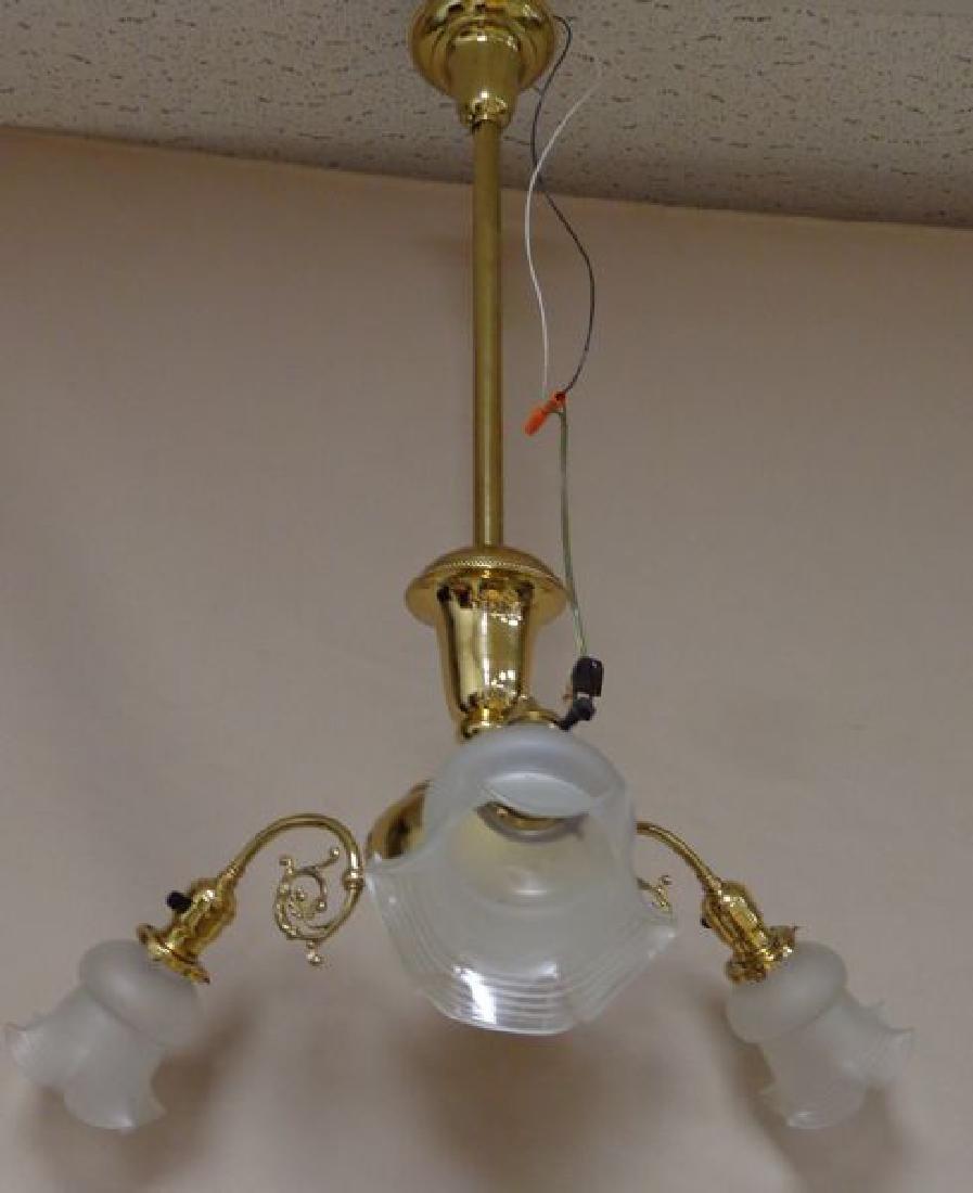 ANTIQUE BRASS ELECTRIC THREE ARM - 2