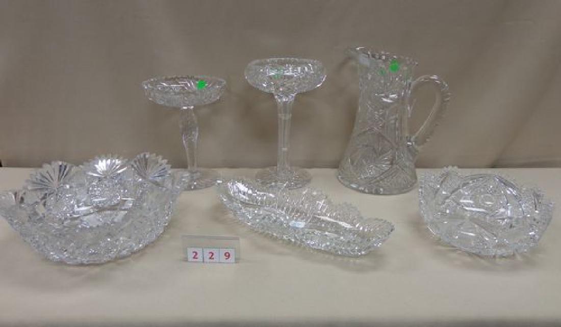 (6 PIECE) CUT GLASS LOT: