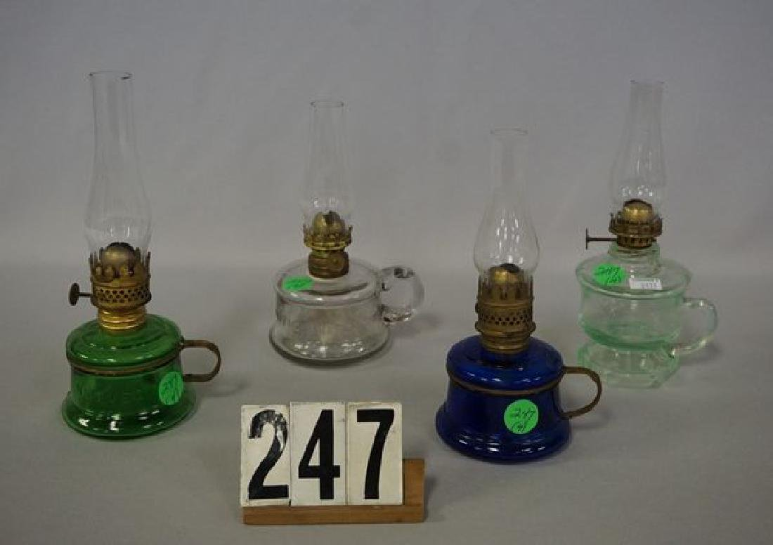 (4 PIECES) MINIATURE KEROSENE LAMPS: