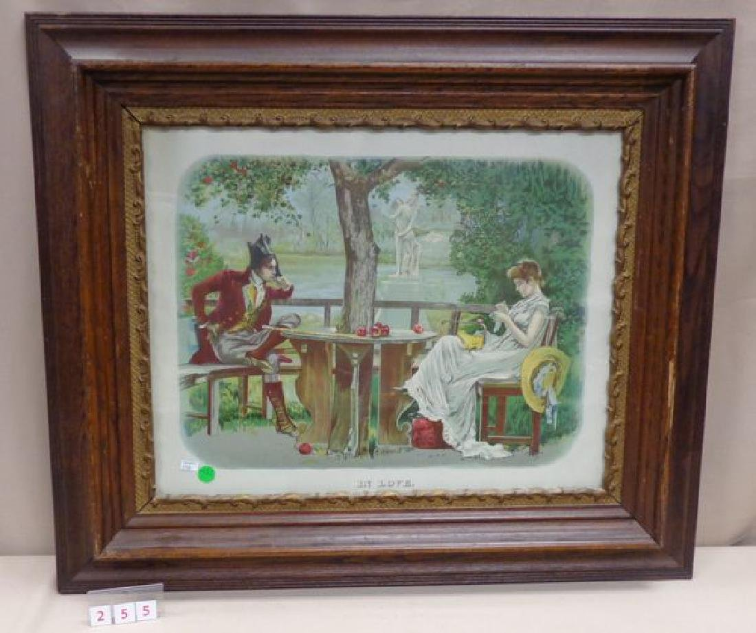 """ANTIQUE VICTORIAN PRINT ENTITLED """"IN LOVE"""""""