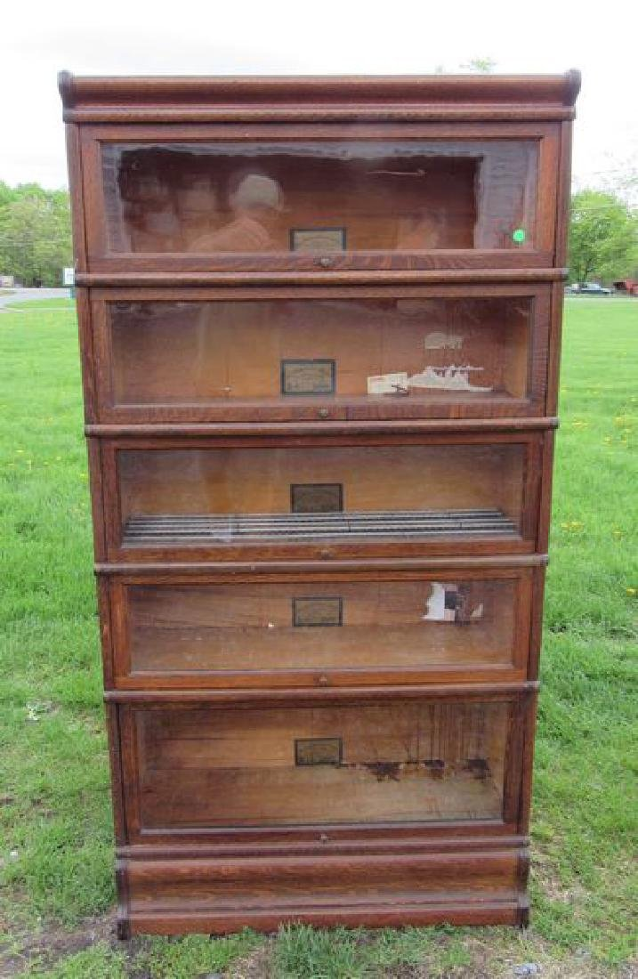 FIVE SECTION OAK BARRISTER STACK BOOKCASE