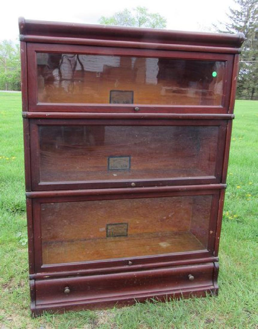 THREE SECTION OAK BARRISTER STACK BOOKCASE