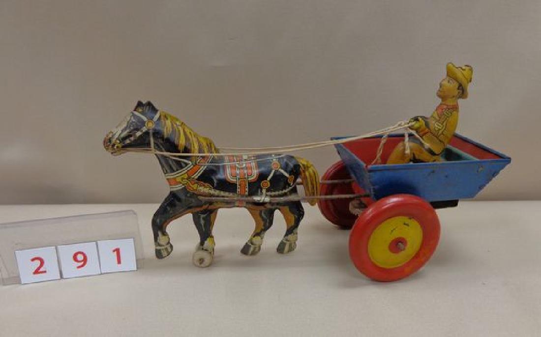 MARX TIN WIND-UP TOY - HORSE PULLING