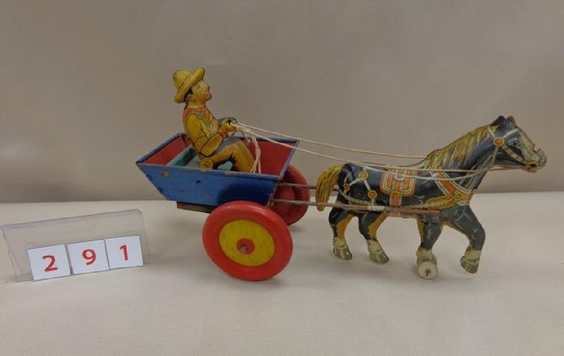 MARX TIN WIND-UP TOY - HORSE PULLING - 2