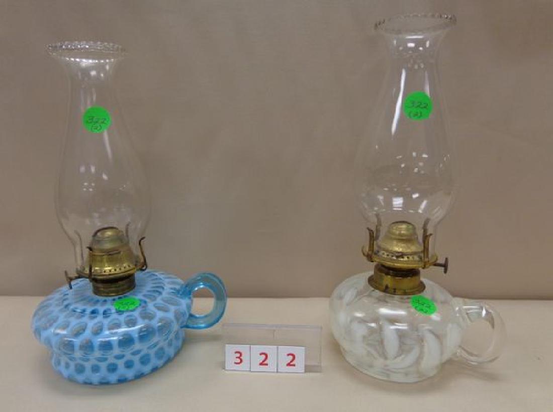 (2) ANTIQUE FINGER LAMPS: