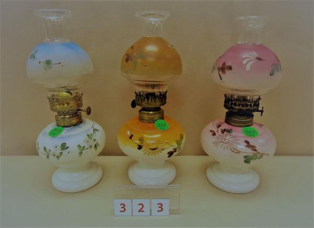 (3) MINIATURE OIL LAMPS: