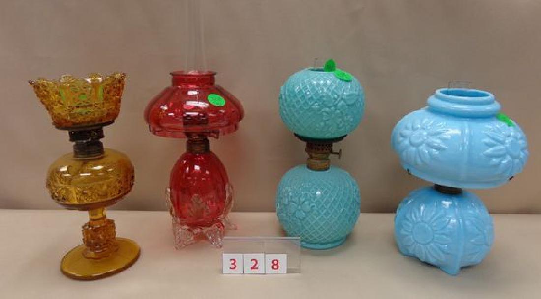 (4) MINIATURE OIL LAMPS: