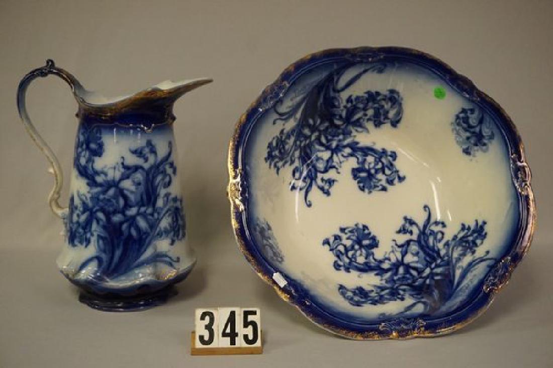 FLOW BLUE PITCHER & BOWL SET - 3