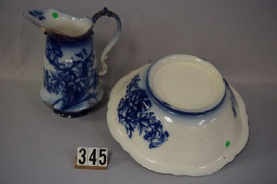 FLOW BLUE PITCHER & BOWL SET - 4