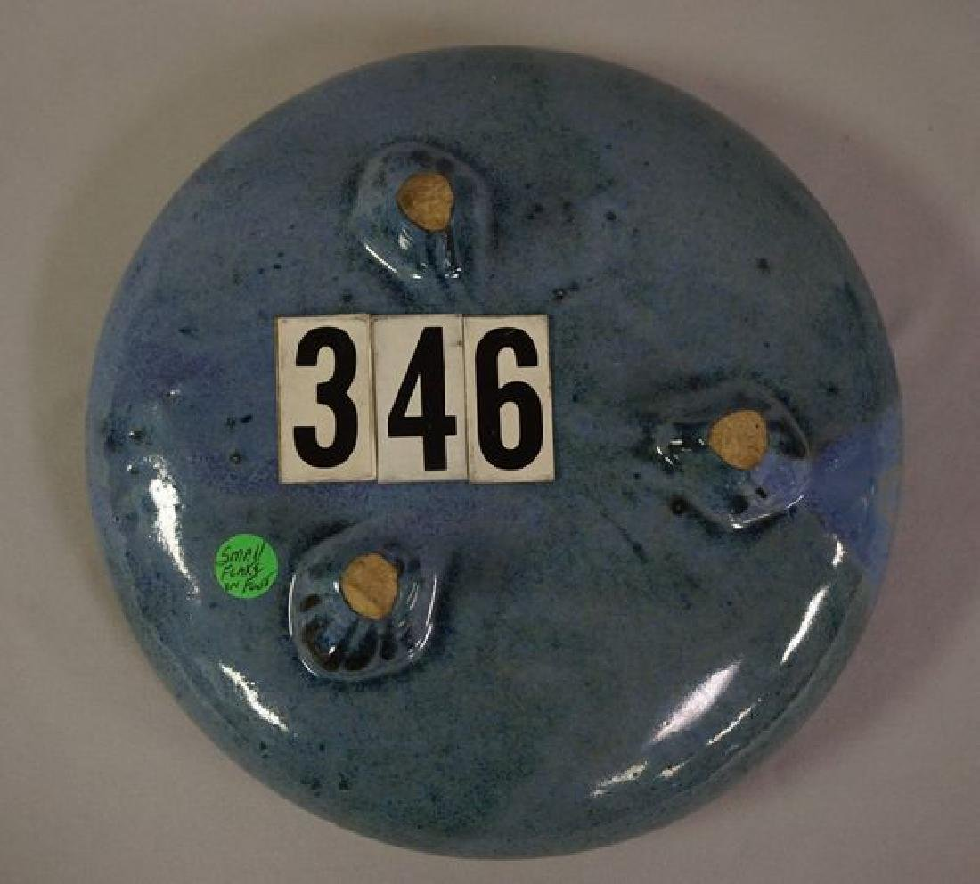 LOT: 7 INCH ROUND THREE FOOTED BLUE - 4
