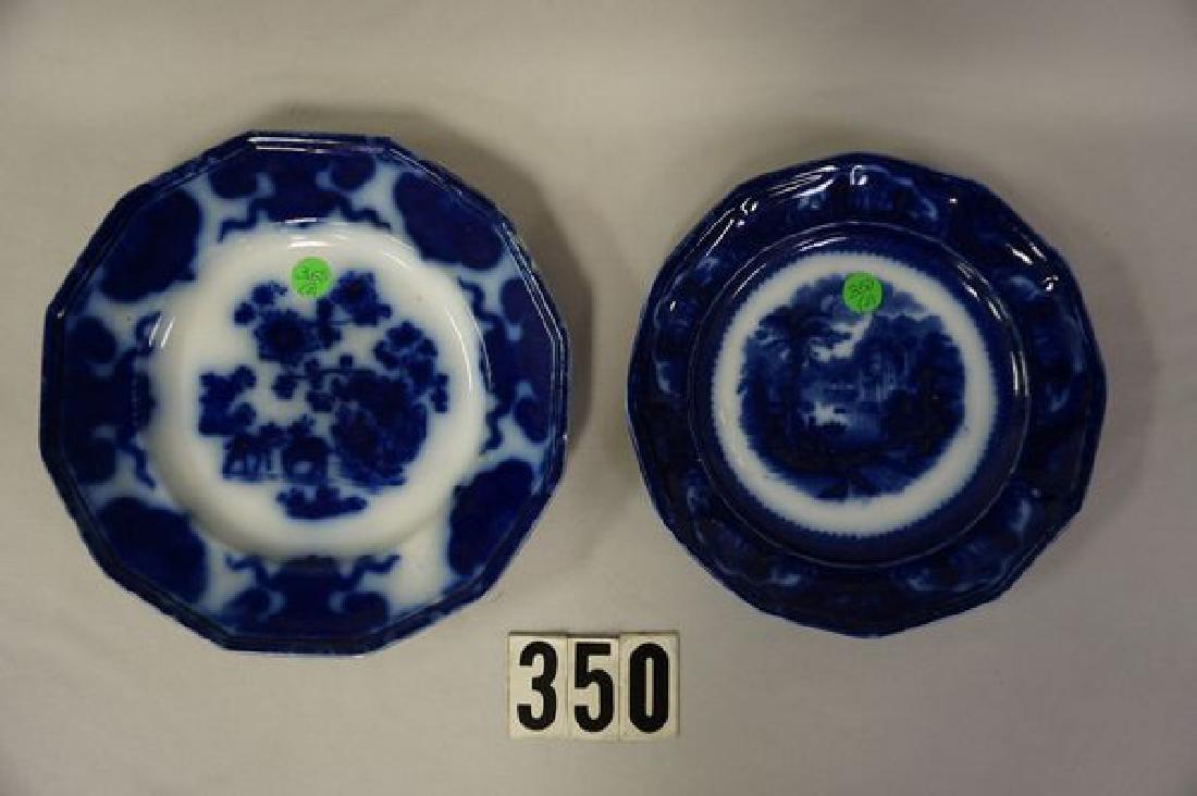 (2 PIECES) FLOW BLUE PLATES: