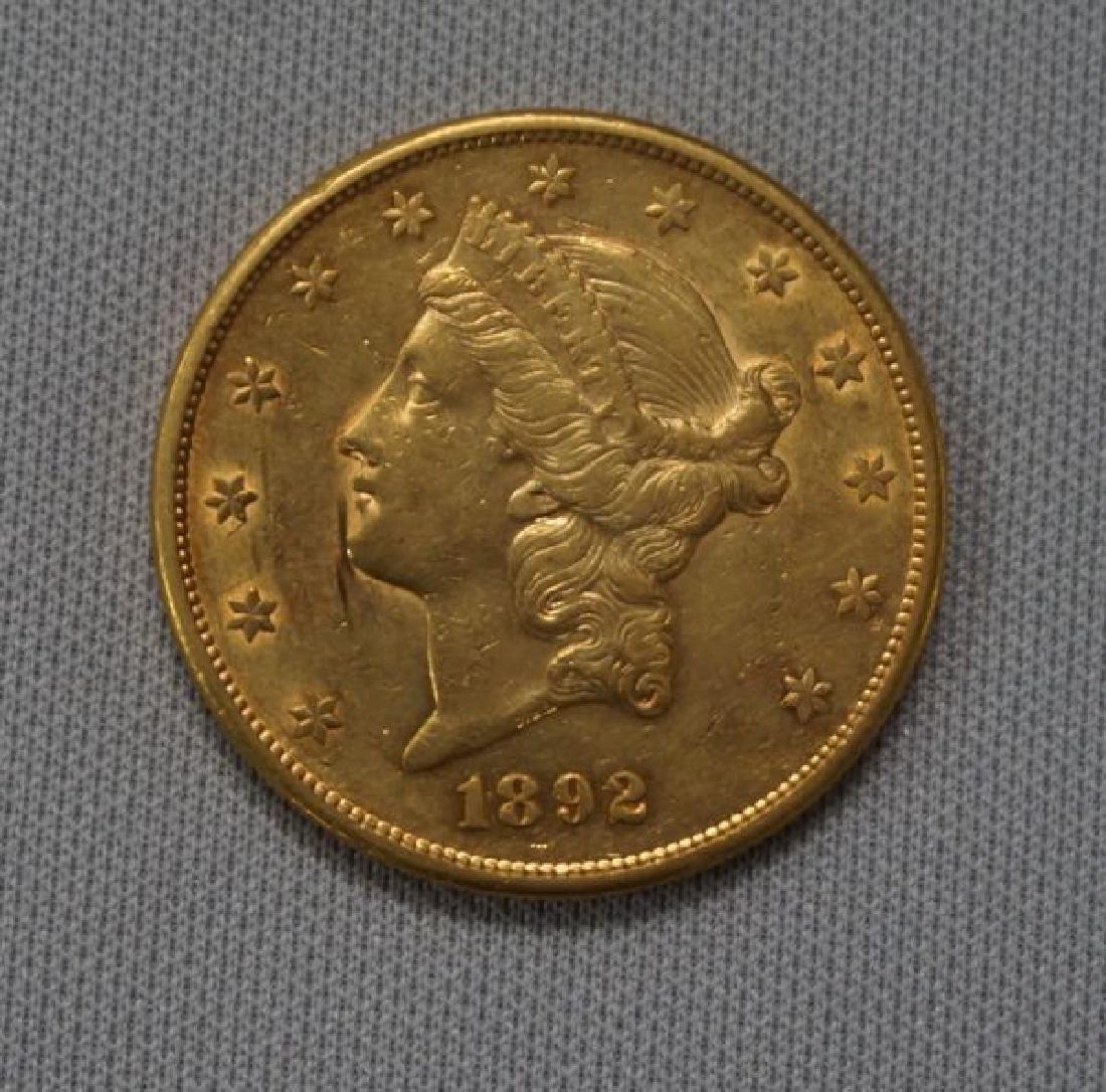 1892-S CORONET HEAD $20.00 GOLD: