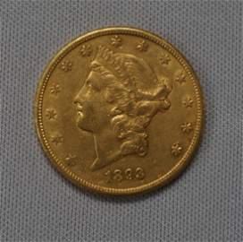 1893-S CORONET HEAD $20.00 GOLD: