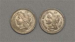 1865  1866 NICKEL THREE CENTS