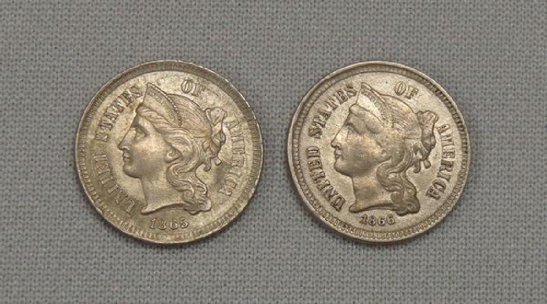 1865 & 1866 NICKEL THREE CENTS: