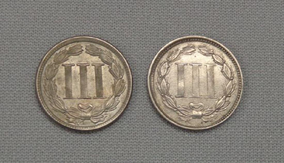 1865 & 1866 NICKEL THREE CENTS: - 2