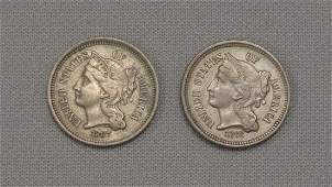 1867  1868 NICKEL THREE CENTS