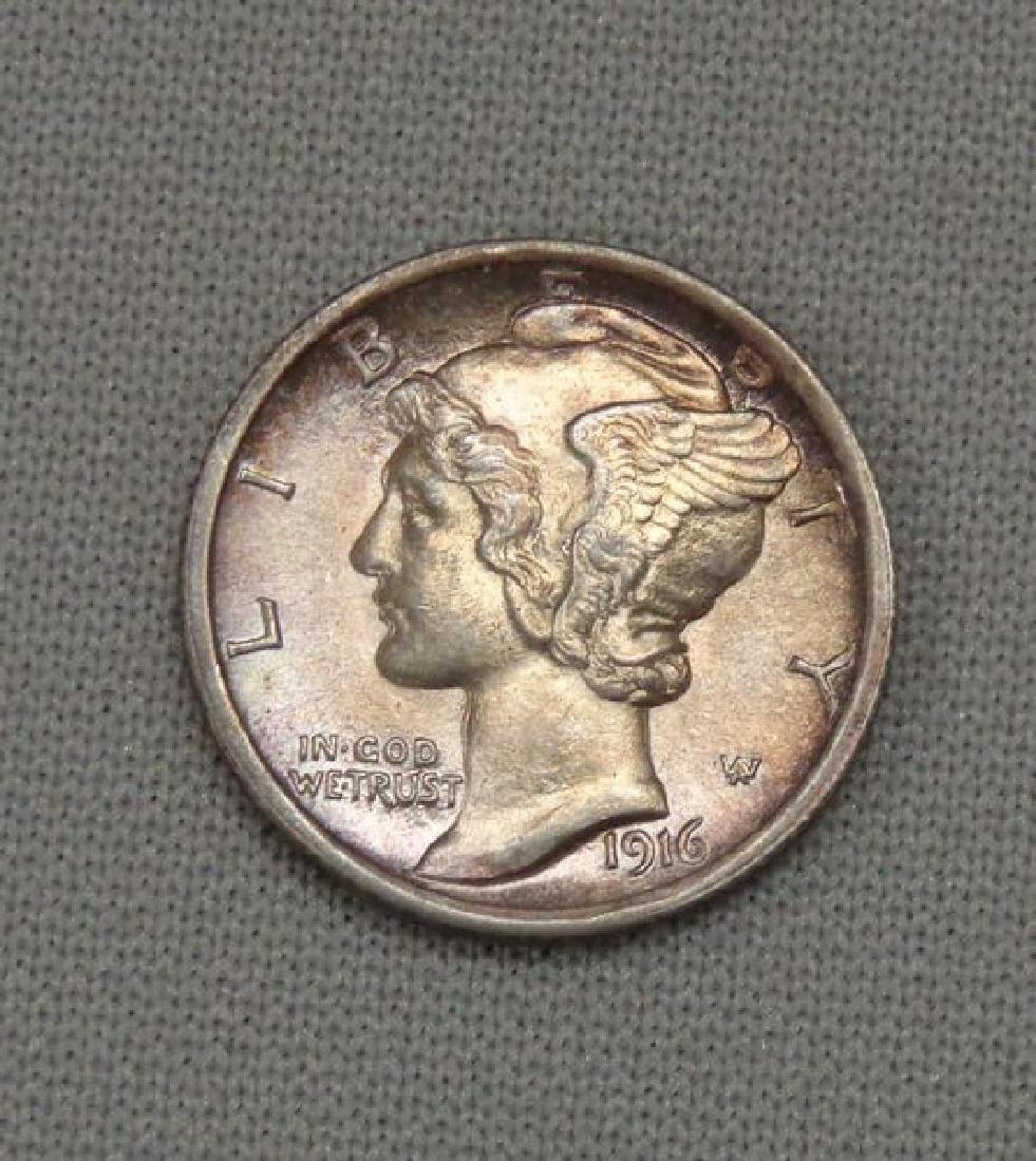 1916 MERCURY DIME WITH SPLIT BANDS: