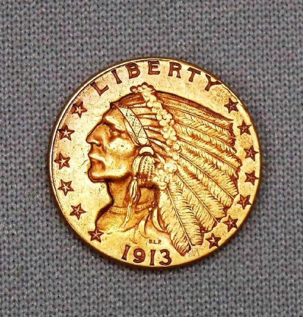 1913 $2.50 INDIAN HEAD GOLD: