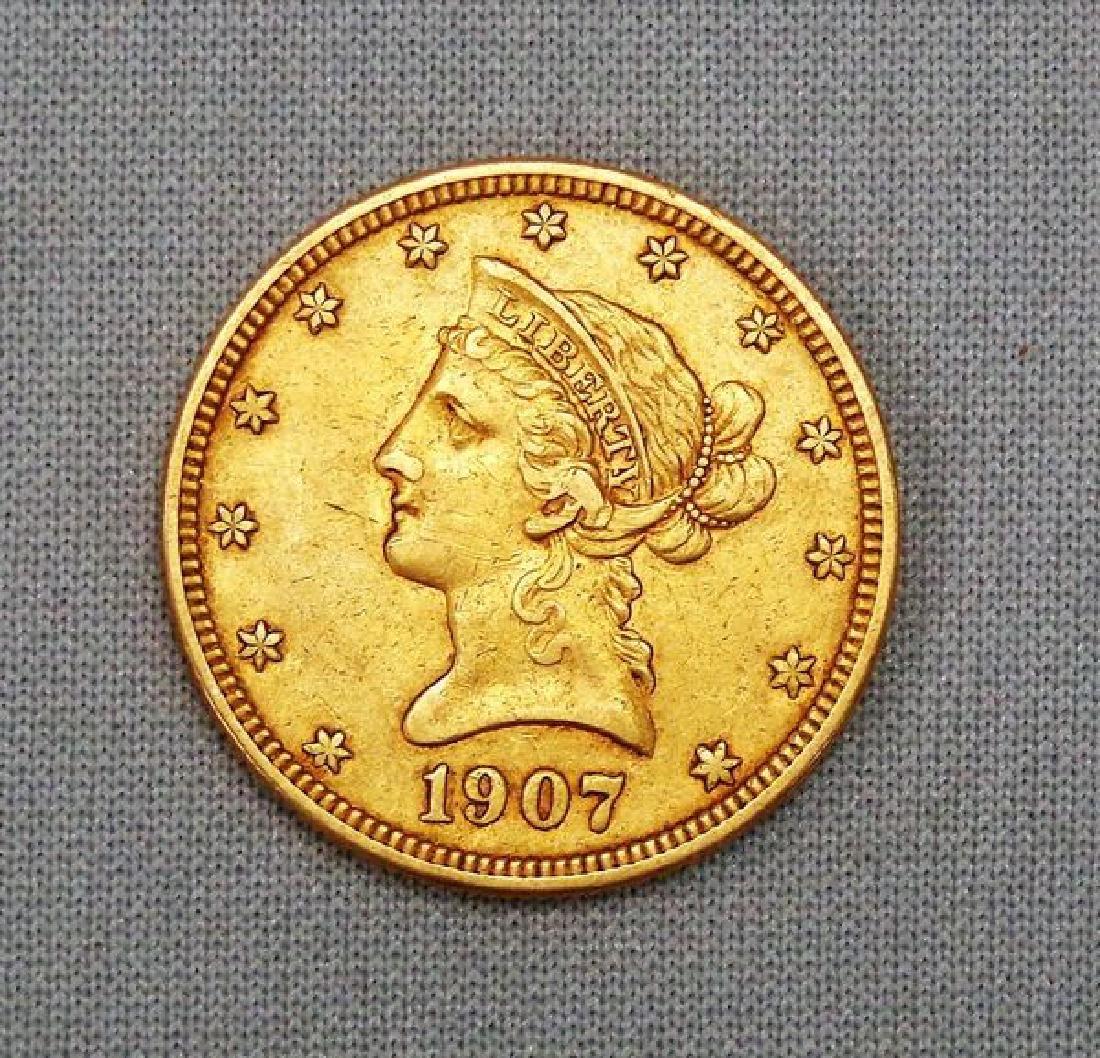 1907 $10.00 LIBERTY HEAD GOLD: