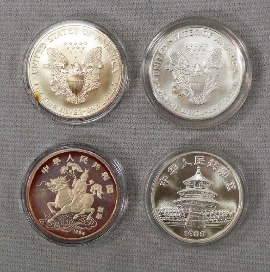 (2) SILVER EAGLES & (2) SILVER ROUNDS: - 2