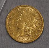 1873-S (OPEN 3) LIBERTY HEAD $20.00 GOLD