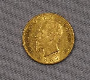 1865 ITALY 20 LIRE GOLD: