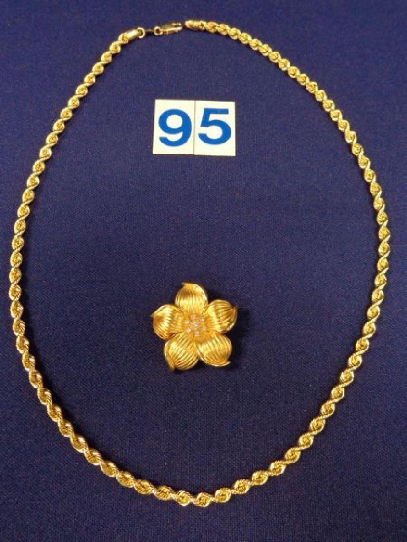 14 KT GOLD 22 INCH LONG WOVEN CHAIN