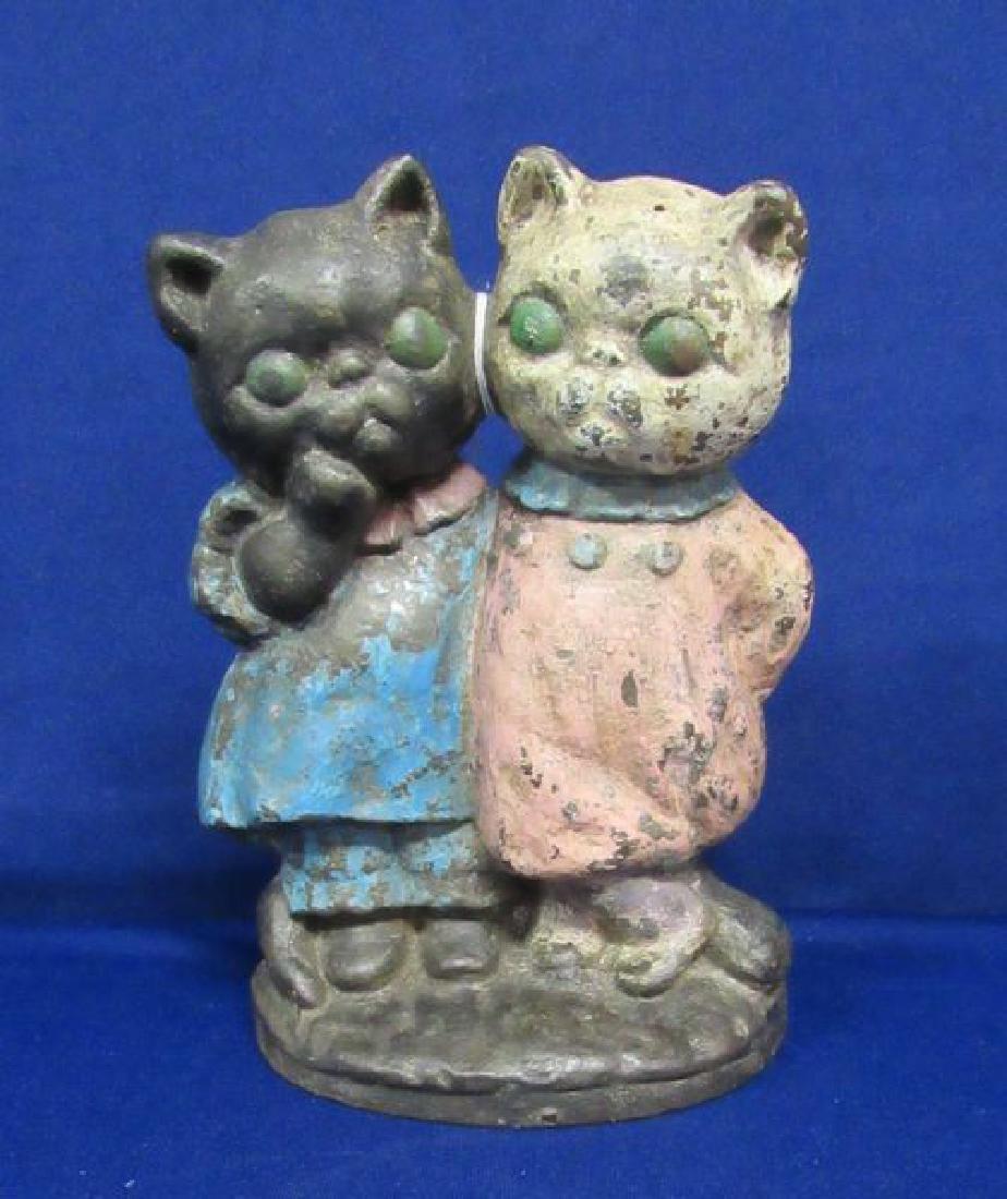 HUBLEY TWO CATS CAST IRON DOOR STOP: