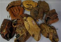 (11 PIECES) LOT OF BASEBALL GLOVES