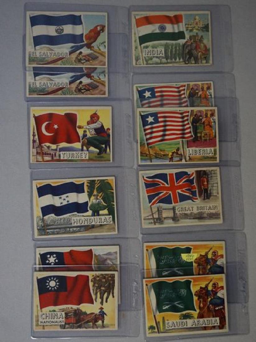 (28) 1956 TOPPS FLAGS OF THE WORLD CARDS