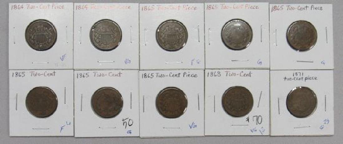 (10) TWO-CENT PIECES: