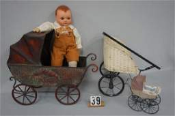 (4 PIECES) WICKER (PAINTED WHITE) HAND DRAWN CART WITH