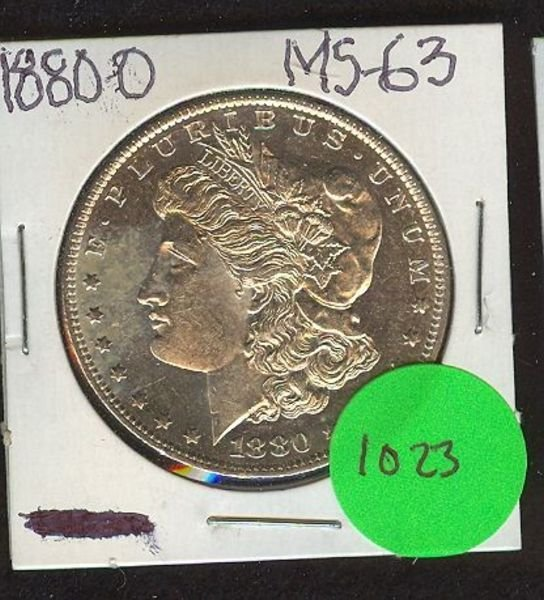 1023: 1880-O MORGAN SILVER DOLLAR