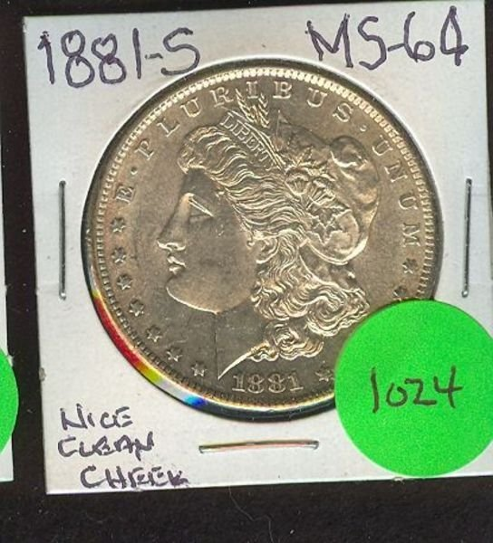 1024: 1881-S MORGAN SILVER DOLLAR