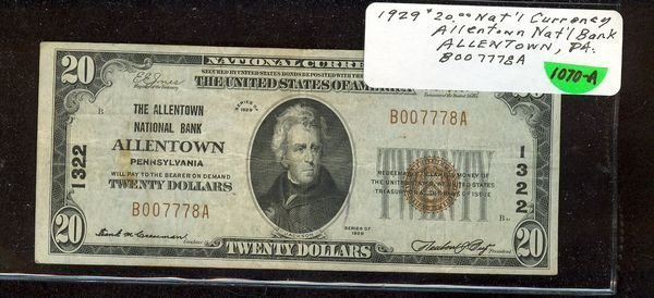 1070A: 1929 $20.00 NATIONAL CURRENCY