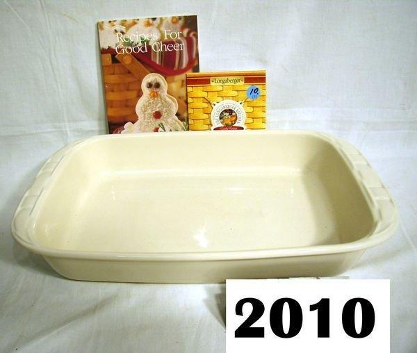 "2010: Longaberger: 9"" X 13"" IVORY BAKING DISH W/BOX, LO"